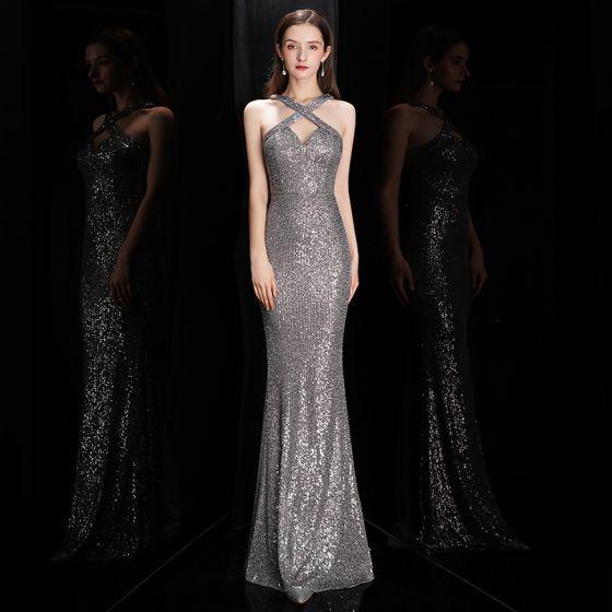Fashion Grey Sequins Evening Dresses  2020 Trumpet / Mermaid Halter Sleeveless Floor-Length / Long Backless Formal Dresses