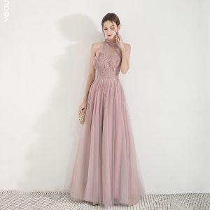 Élégant Perle Rose Transparentes Robe De Soirée 2019 Princesse Col Haut Sans Manches Appliques En Dentelle Perlage Longue Volants Dos Nu Robe De Ceremonie