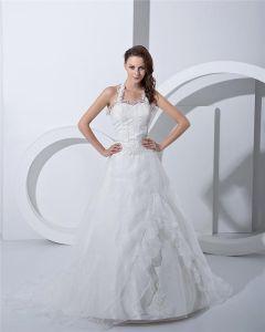 Applique Schatz Halfter Gericht A-linie Brautkleider Hochzeitskleid