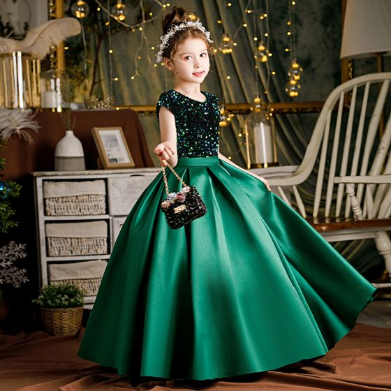 Chic / Beautiful Dark Green Sash Sequins Birthday Flower Girl Dresses Ball Gown 2021 Satin Scoop Neck Short Sleeve Floor-Length / Long