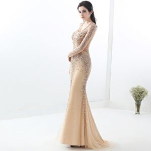 Illusion Champagne See-through Evening Dresses  2019 Trumpet / Mermaid V-Neck Long Sleeve Sequins Beading Sweep Train Formal Dresses
