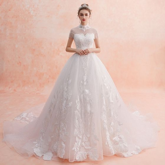 Chinese Style Ivory See Through Wedding Dresses 2019 A Line