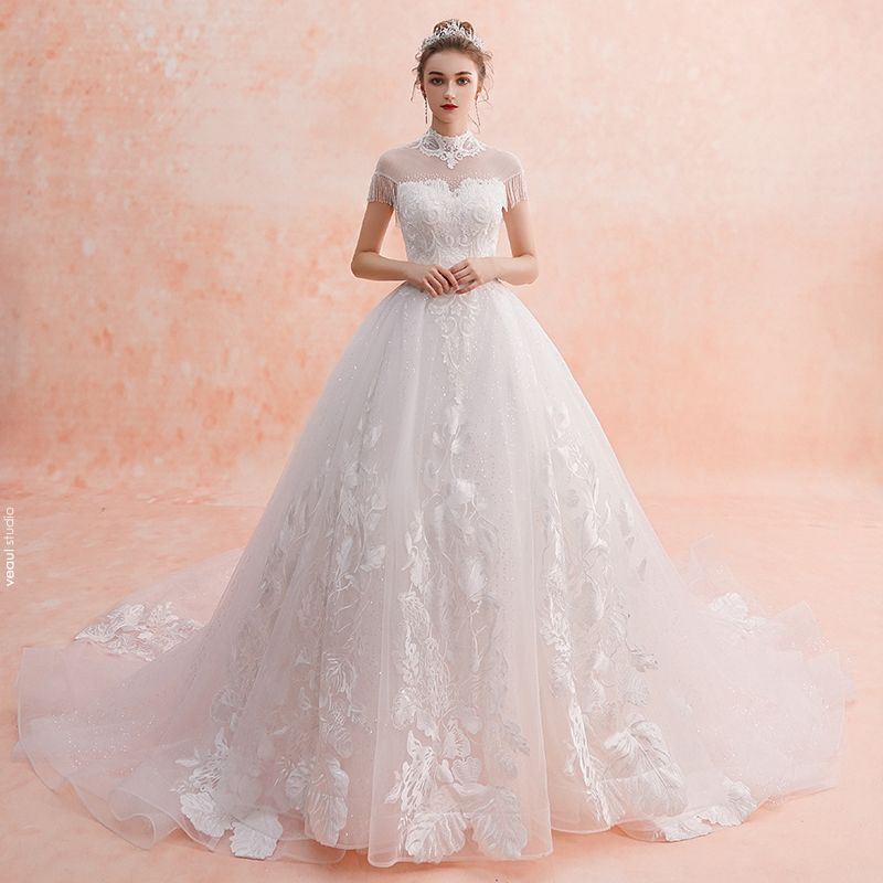 Chinese style Ivory See-through Wedding Dresses 2019 A-Line / Princess High Neck Short Sleeve Backless Appliques Lace Beading Tassel Glitter Tulle Cathedral Train Ruffle