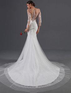 Seksowne Suknie Ślubne 2016 Syrena Aplikacja Kwiaty Cekiny Biały Tiul Backless Sukni Ślubnej Z Przyciskiem Okładki