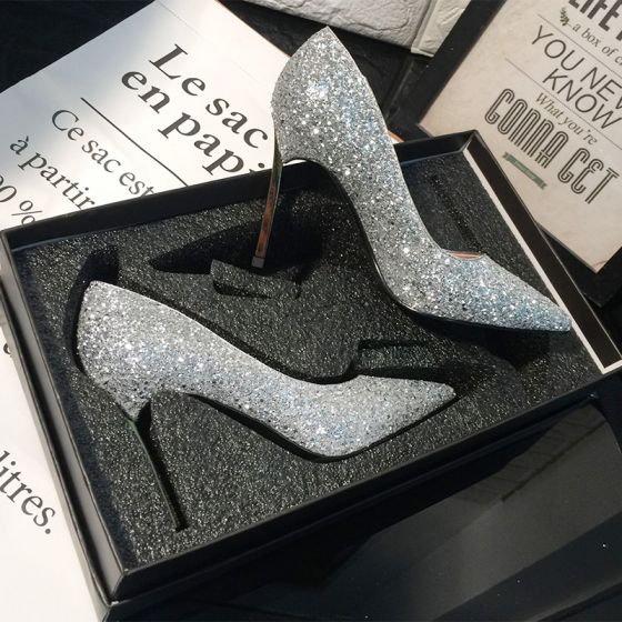 Sparkly Silver Wedding Shoes 2018 Sequins Pointed Toe High Heels