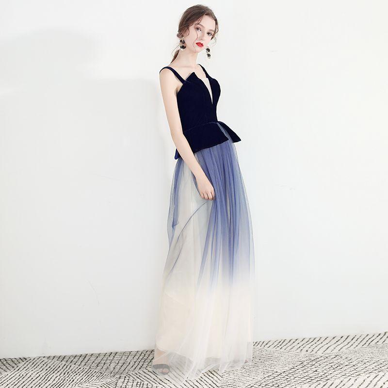 Mooie / Prachtige Donkerblauwe Gradiëntkleur Avondjurken 2019 A lijn Spaghettibandjes Mouwloos Ruglooze Lange Gelegenheid Jurken