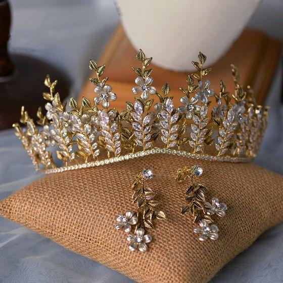 High-end Guld Tiara Örhängen Brudsmycken 2020 Legering Blad Rhinestone Bröllop Tillbehör