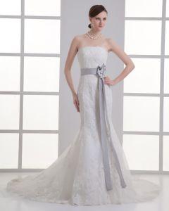Tulle Applique Schatz Gericht Zug-hochzeitskleid Brautkleider