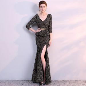 Chic / Beautiful Black Gold Evening Dresses  2018 Trumpet / Mermaid V-Neck 3/4 Sleeve Metal Sash Split Front Ankle Length Ruffle Backless Formal Dresses