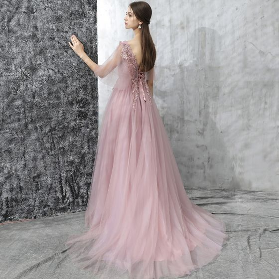 Chic / Beautiful Evening Dresses  2017 Candy Pink A-Line / Princess Sweep Train Scoop Neck 1/2 Sleeves Backless Appliques Flower Formal Dresses