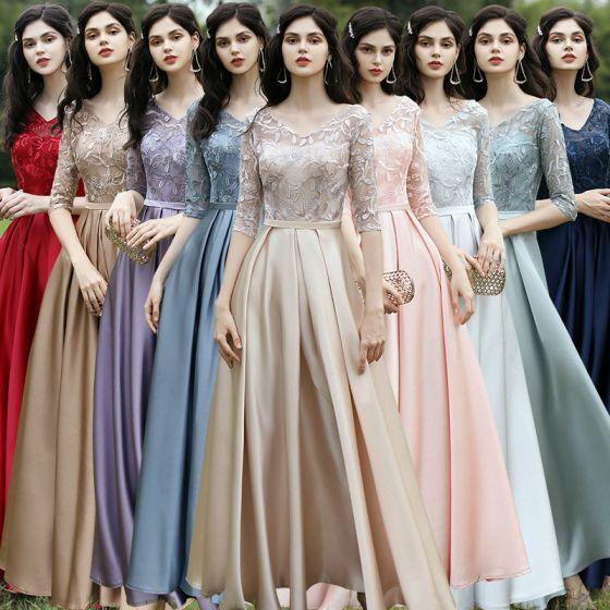 Affordable Satin Bridesmaid Dresses 2021 A-Line / Princess V-Neck 1/2 Sleeves Appliques Lace Sash Backless Floor-Length / Long Ruffle