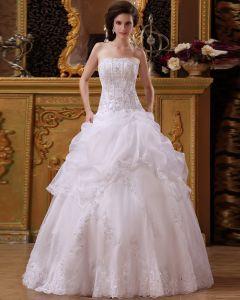 Trägerloses Blumenarrangements Fangen Bubble Organza Fußbodenlänge A-linie Hochzeitskleider