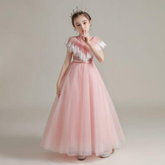Vintage Pearl Rosa Durchsichtige Geburtstag Blumenmädchenkleider 2020 A Linie Stehkragen Ärmellos Stoffgürtel Perlenstickerei Lange Rüschen
