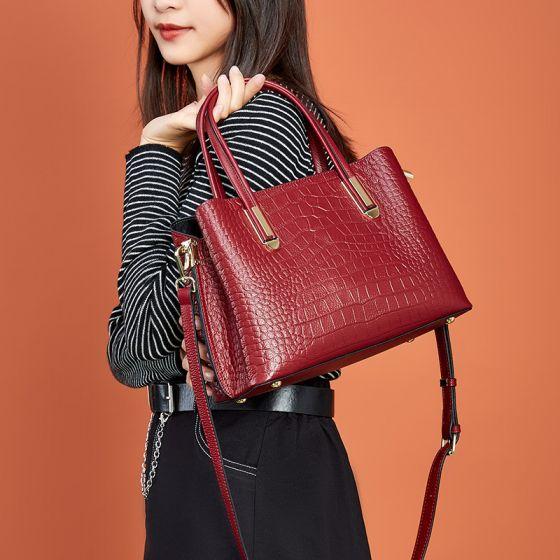 Moda Borgoña Cuadradas Bolso Bolsas de hombro 2021 Print De Cocodrilo Cuero Bolsos de mujer