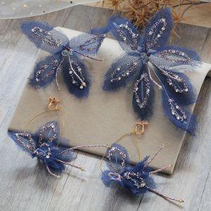 Mooie / Prachtige Donkerblauwe Oorbellen Haaraccessoires 2019 Tule Vlinder Kralen Rhinestone Handgemaakt Avond Gala Accessoires