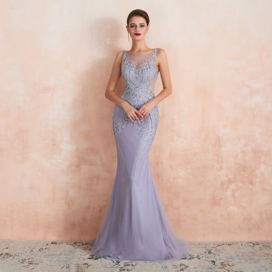 High-end Lavender See-through Evening Dresses  2020 Trumpet / Mermaid Square Neckline Sleeveless Handmade  Beading Sweep Train Backless Formal Dresses