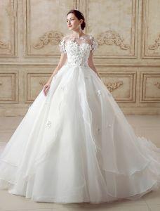 db42d5cc6fed Elegant Bolden Brudekjole 2016 Korte Ærmer Backless Bryllupskjoler  Håndlavede Blomster