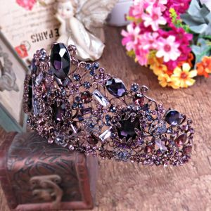 Chic / Beautiful Grape Bridal Jewelry 2017 Metal Beading Crystal Rhinestone Headpieces Wedding Prom Accessories