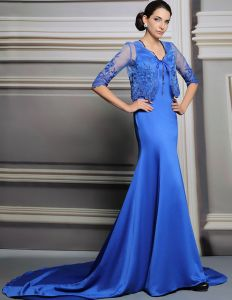 2015 Satin Mash Stickerei Abendkleid