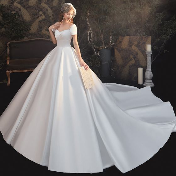 Modest / Simple White Satin Bridal Wedding Dresses 2020 Ball Gown Square Neckline Short Sleeve Backless Cathedral Train Ruffle
