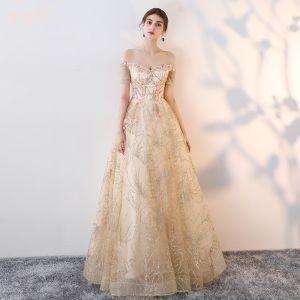 Schöne Champagner Abendkleider 2017 A Linie Spitze Blumen Perle Pailletten Off Shoulder Rückenfreies Kurze Ärmel Lange Festliche Kleider