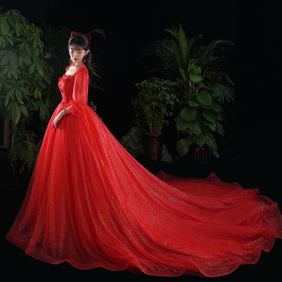 Snygga / Fina Röd Bröllopsklänningar 2020 Prinsessa Spets Blomma Appliqués Paljetter Fyrkantig Ringning 1/2 ärm Cathedral Train