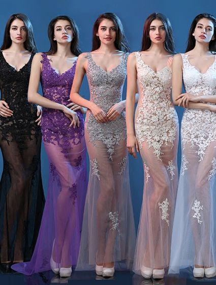 Sexy Lace Evening Dresses 2016 Mermaid Deep V-neck Applique Lace Tulle Backless Evening Dress