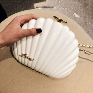 Amazing / Unique Ivory Clutch Bags 2019 Metal Rhinestone