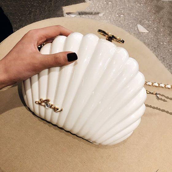 Amazing / Unique Ivory Clutch Bags 2019 Metal Rhinestone