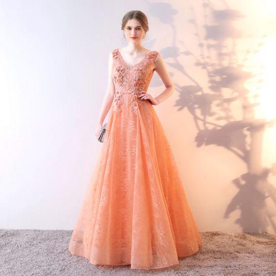 Chic / Beautiful Orange Evening Dresses  2017 A-Line / Princess Lace Flower Sequins V-Neck Backless Sleeveless Floor-Length / Long Formal Dresses