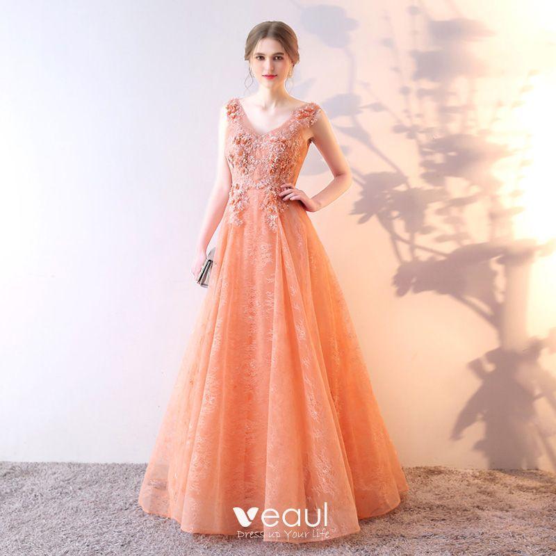 Princess Lace Flower Sequins V-Neck