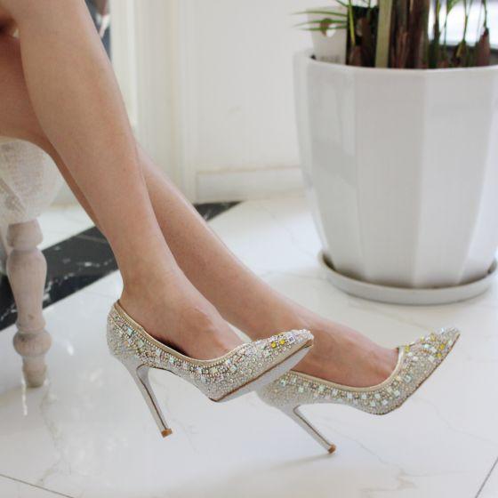 Chic / Belle Blanche Chaussure De Mariée 2019 Cuir Faux Diamant Paillettes 10 cm Talons Aiguilles À Bout Pointu Mariage Escarpins