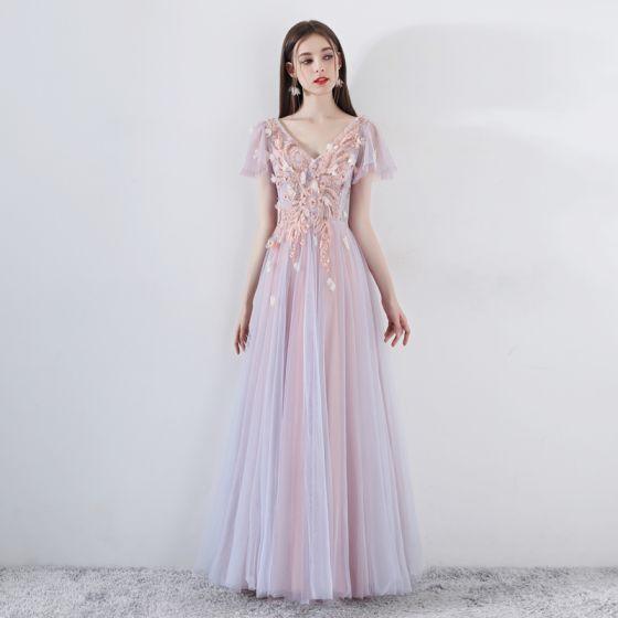 Romantisk Perle Pink Gallakjoler 2019 Prinsesse V-Hals Kort Ærme Applikationsbroderi Med Blonder Beading Lange Flæse Halterneck Kjoler