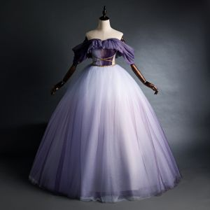 Elegante Violett Quinceañera Ballkleider 2020 Ballkleid Off Shoulder Glanz Perlenstickerei Kurze Ärmel Rückenfreies Lange Festliche Kleider