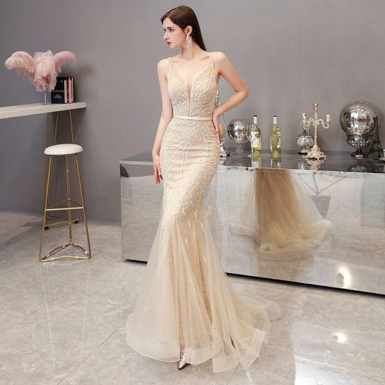 High-end Gold Evening Dresses  2020 Trumpet / Mermaid Deep V-Neck Sleeveless Beading Sash Sweep Train Ruffle Backless Formal Dresses