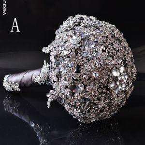 Luxus / Herrlich Silber Metall Perlenstickerei Kristall Strass Brautstrauß 2019