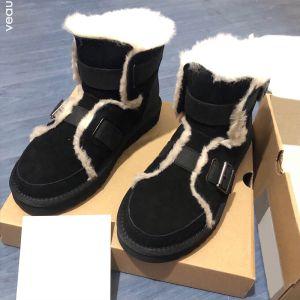 Mode Schwarz Schneestiefel 2020 Woll Leder Ankle Boots Wildleder Winter Flat Runde Zeh Freizeit Stiefel Damen
