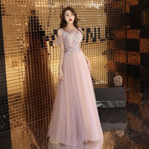 Chic / Beautiful Pearl Pink Evening Dresses  2019 A-Line / Princess Scoop Neck Beading Bow Lace Flower Short Sleeve Backless Floor-Length / Long Formal Dresses