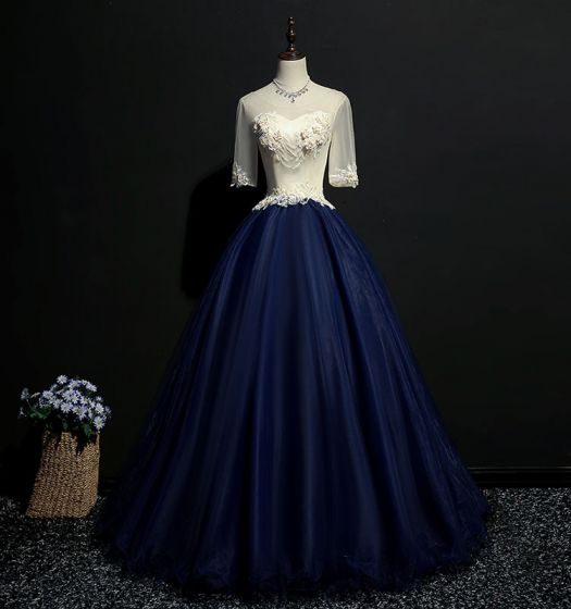 Elegant Navy Blue Prom Dresses 2018 Ball Gown Lace Appliques Scoop Neck Backless 1/2 Sleeves Floor-Length / Long Formal Dresses