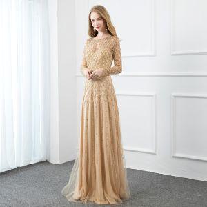 Haut de Gamme Doré Fait main Robe De Soirée 2020 Princesse Encolure Dégagée Perlage Perle Paillettes Manches Longues Longue Robe De Ceremonie