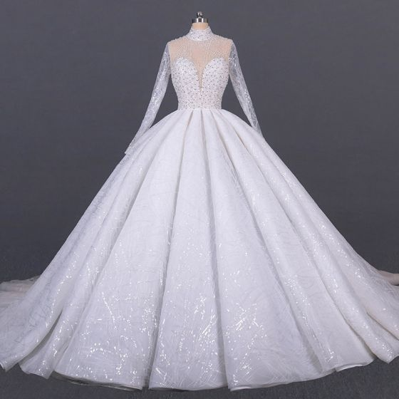 Luxury / Gorgeous White Bridal See-through Wedding Dresses 2020 Ball Gown High Neck Long Sleeve Handmade  Beading Sequins Cathedral Train Ruffle