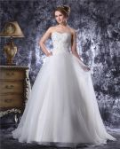 Sweetheart Floor Length Beading Applique Organza Ball Gown Wedding Dress