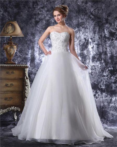 Sweetheart Floor Length Beading Applique Organza Ball Gown Wedding Dress