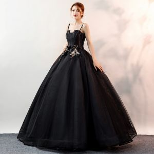 Affordable Black Prom Dresses 2020 Ball Gown Spaghetti Straps Sleeveless Appliques Lace Floor-Length / Long Ruffle Backless Formal Dresses
