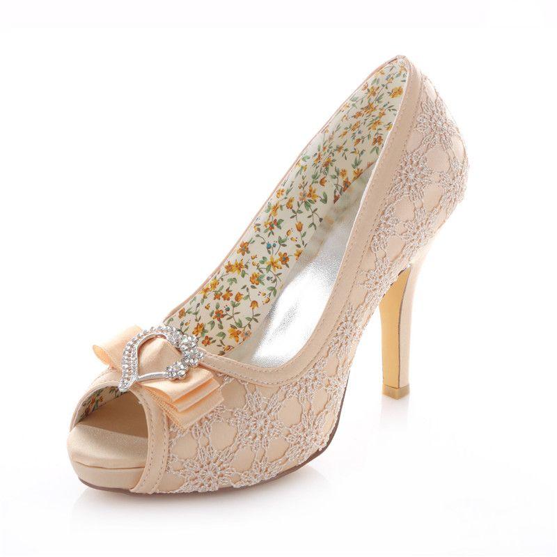 Elegant Wedding Shoes 2016 Champagne Stiletto Heels Pumps 4 Inch High Heel Peep Toe