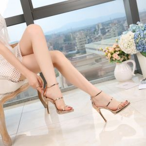 Sexy Champagne Evening Party Womens Sandals 2020 Ankle Strap 10 cm Stiletto Heels Pointed Toe Sandals
