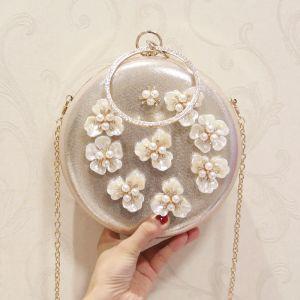 Chic / Beautiful Gold Pearl Flower Glitter Metal Clutch Bags 2018