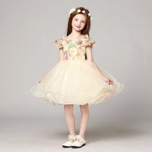 Piękne Szampan Sukienki Dla Dziewczynek 2017 Suknia Balowa V-Szyja Bez Rękawów Aplikacje Kwiat Rhinestone Druk Krótkie Wzburzyć Sukienki Na Wesele
