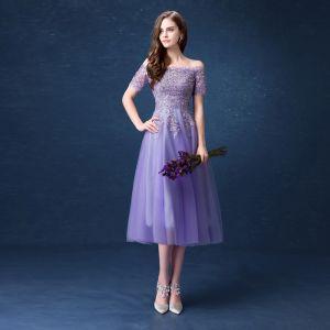 Affordable Lavender Bridesmaid Dresses 2018 A-Line / Princess Off-The-Shoulder Short Sleeve Sequins Beading Tea-length Ruffle Backless Wedding Party Dresses