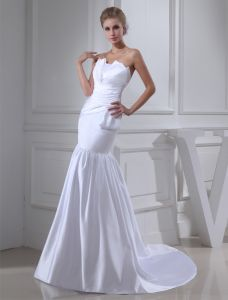 2015 Sheath Strapless Pleated Floor Length Bridal Gown Simple Wedding Dress